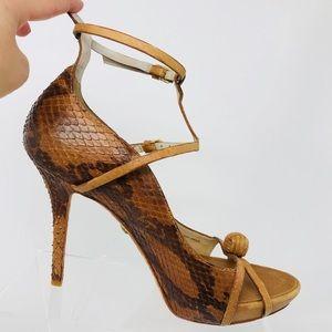 LAMB Felix snake brown strap heels size 10 medium